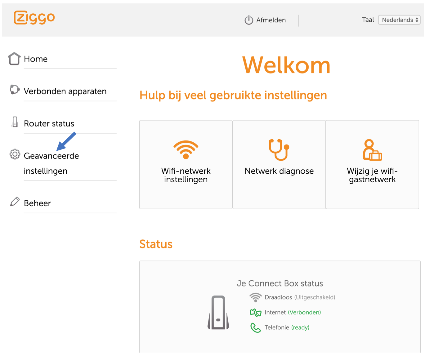 Ziggo Wifi instellingen Connect Box
