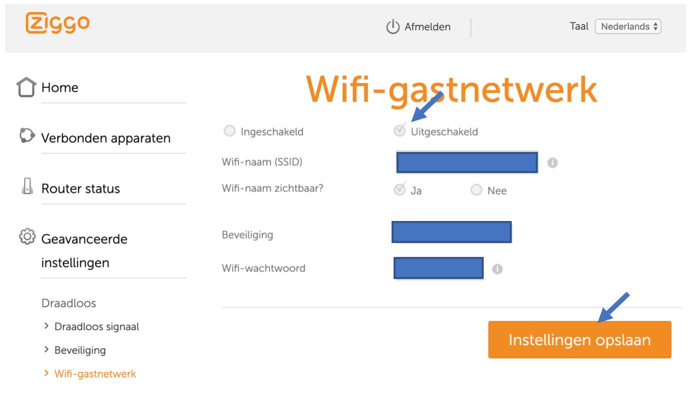 Wifi-gastnetwerk uitschakelen